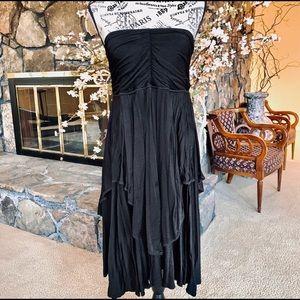 Vintage Strapless Black Layered Dress | Skirt